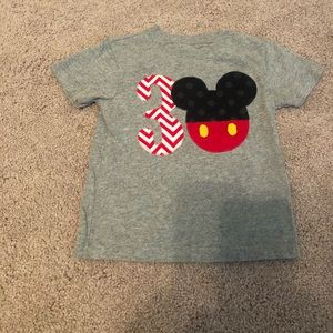 "Hand sewn and fused Mickey ""3"" t-shirt sz 3T"
